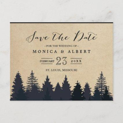 (for USPS) Rustic Kraft Pine Trees Save the Date Announcement