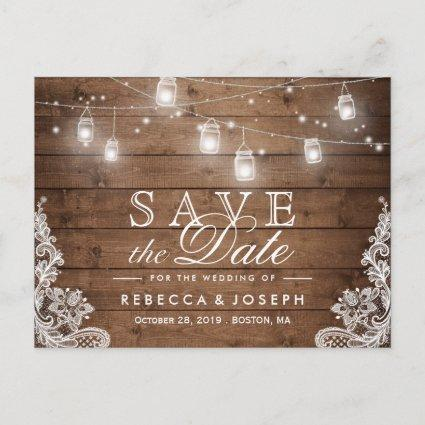 (for USPS) Rustic String Lights Lace Save the Date Announcement