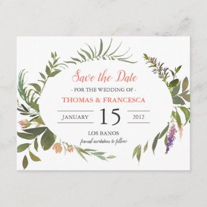 Forest Leaves Watercolor Save the Date Card