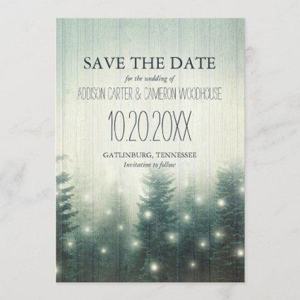 Forest Lights | Rustic Save the Date