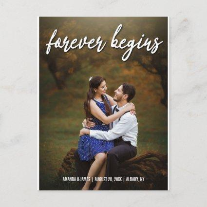 Forever Begins Rustic Wedding Photo Save The Date Announcement