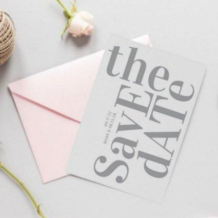 Forever Grey Monogram Non Photo Simple Wedding Save The Date