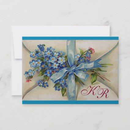 FORGET ME NOTS MONOGRAM WEDDING RSVP blue silver