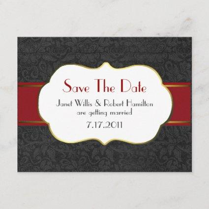 Formal Black Damask Save the Date Announcement