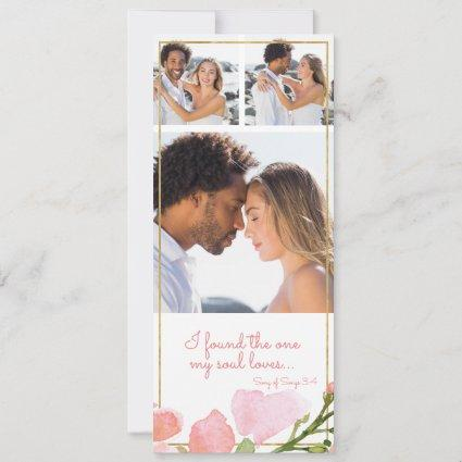 Found One Soul Loves 3 Photo Pink Rose Gold Floral Save The Date