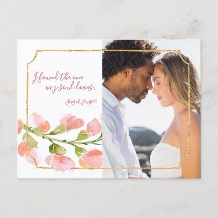 Found One Soul Loves Coral Floral Gold Photo Ombre Announcement