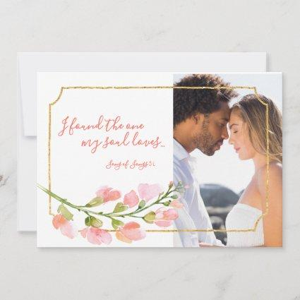 Found One Soul Loves Coral Floral Gold Photo Ombre Save The Date
