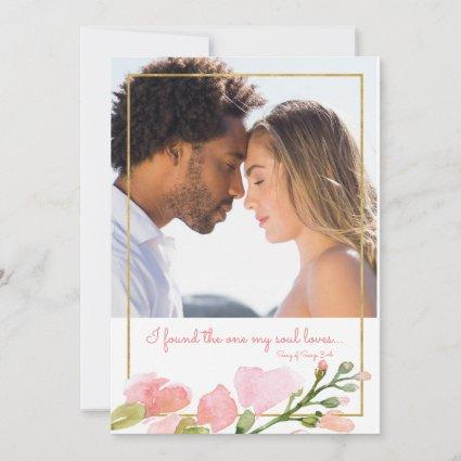 Found One Soul Loves Photo Pink Rose Gold Floral Save The Date