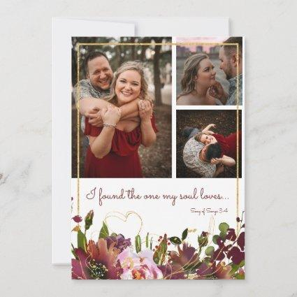 Found The One Soul Loves 3 Photo Burgundy Gold Save The Date