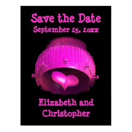 Fractal art girly hot pink punk Save the Date Cards