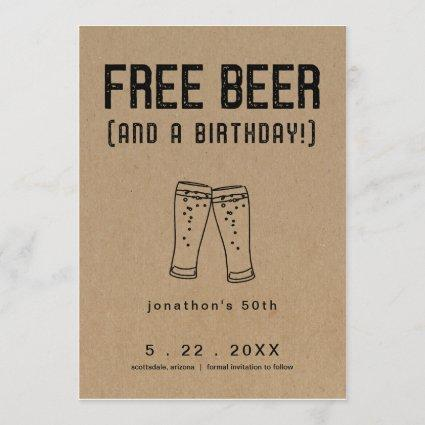 Free Beer Funny Birthday Save the Date Card