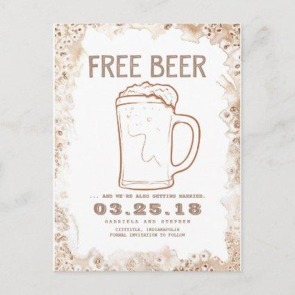 Free Beer | Rustic Funny Save the Date Announcement
