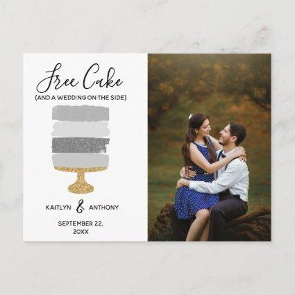 Free Cake Funny Modern Photo Wedding Save The Date Announcement