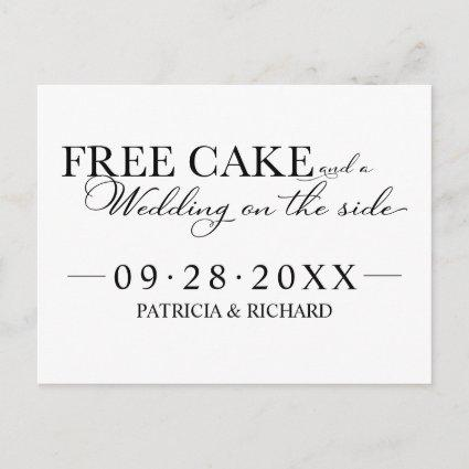 Free Cake Funny Wedding Save The Date Non Photo