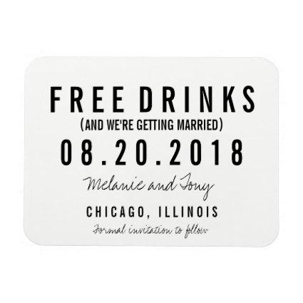 Free Drinks Wedding  Magnets