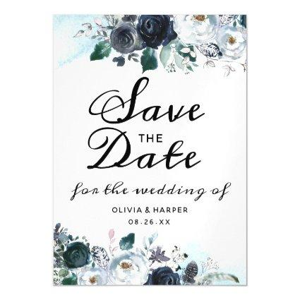 French Twilight Floral Watercolor Save the Date Magnetic Invitation