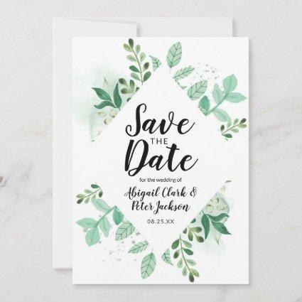 Fresh Foliage Botanical Mint Diamond Frame Chic Save The Date