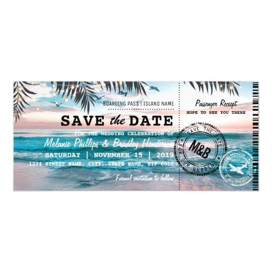 Fridge Save the Date Tropical Beach Palm Trees Magnetic Card
