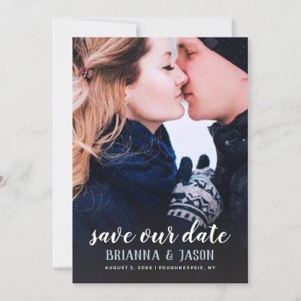 Full Photo Save The Date Blue
