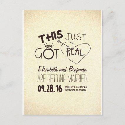 fun and cute save the date - THIS JUST GOT REAL! Announcement