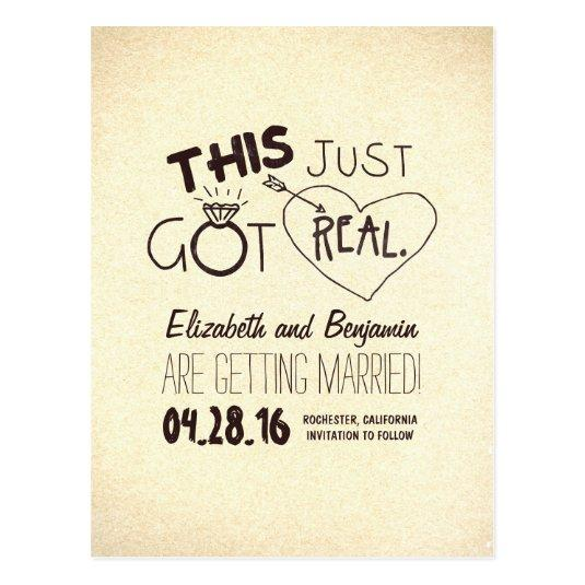 fun and cute save the date - THIS JUST GOT REAL! Cards