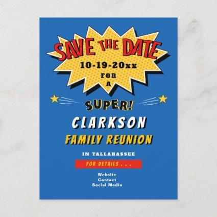 Fun Blue Comic Super Family Reunion Save the Date Invitation