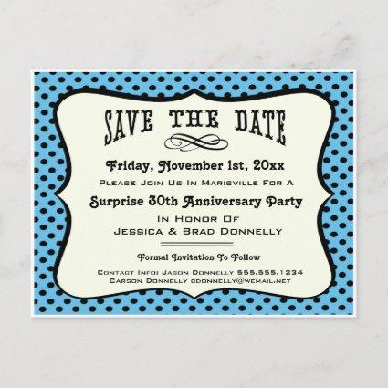 Fun Blue Polka Dot Party or Reunion Save the Date Announcement