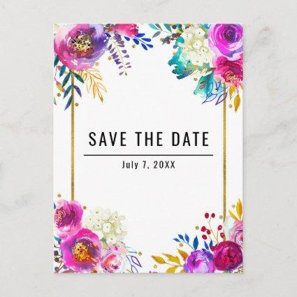 Fun Bright Bold Watercolor Floral Save the Date Announcement