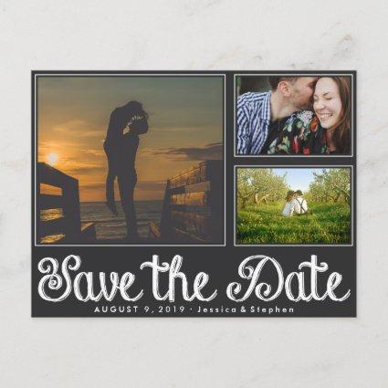 Fun Chalk Save The Date Collage Cards