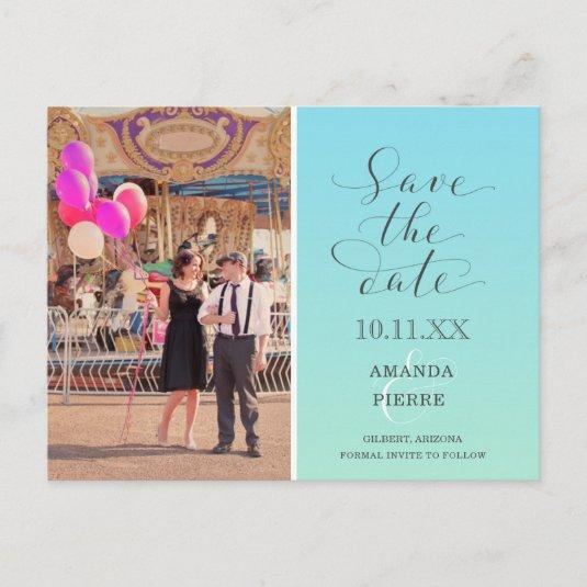 Fun Colorful Ombre Photo Save the Dates Announcement