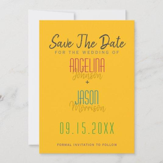 Fun Colorful Wedding Simple Modern Typography Save The Date