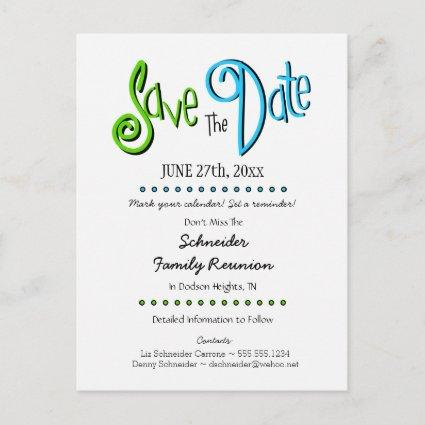 Fun Family Reunion or Party Save the Date Announcements Cards