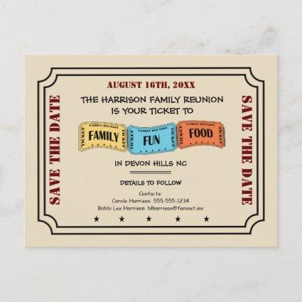 Fun Family Reunion Ticket to Save the Date Announcements Cards