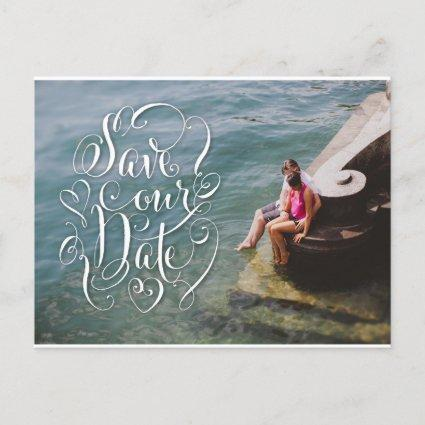 Fun Lettering Save the Date Photo Post Cards