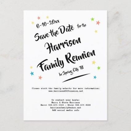 Fun Stars Family Reunion or Party Save the Date Announcement