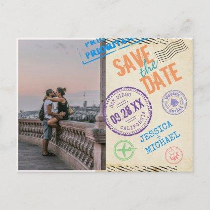 Fun Vintage Airmail Typography Photo Save The Date Invitation