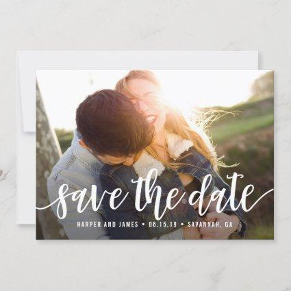 Funky Script Modern Save The Date Card