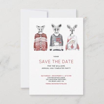 Funny Animal Ugly Christmas Sweater Save the Date