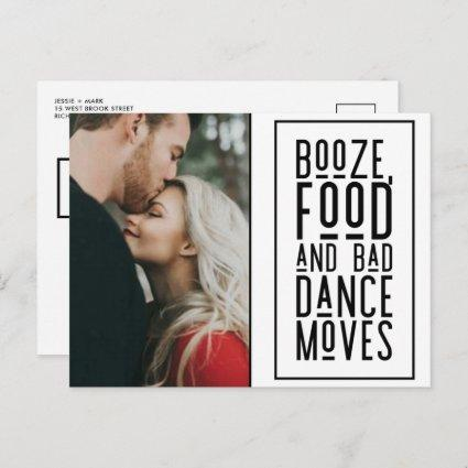 Funny Booze, Food, Bad Dance Moves Photo Save Date Announcement