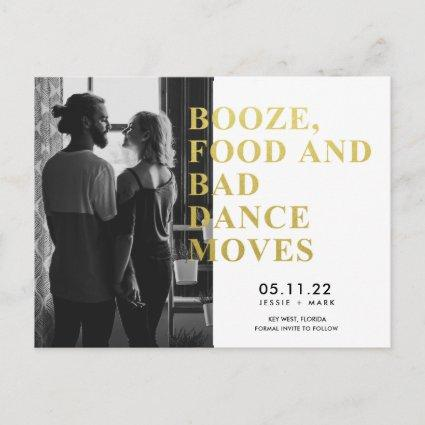 Funny Booze, Food, Bad Dance Moves Save the Dates Announcement