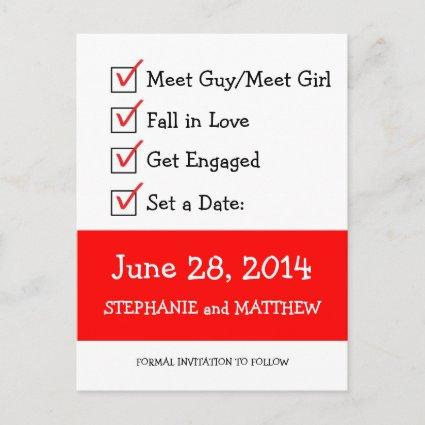 Funny Checklist Save the Date Announcement