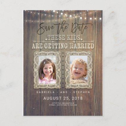 Funny Childhood Photos | Rustic Wood Save the Date Announcement