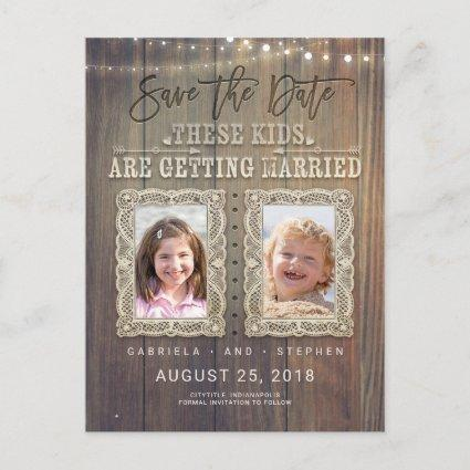 Funny Childhood Photos   Rustic Wood Save the Date Announcement