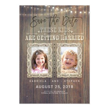Funny Childhood Photos | Rustic Wood Save the Date Magnetic Invitation