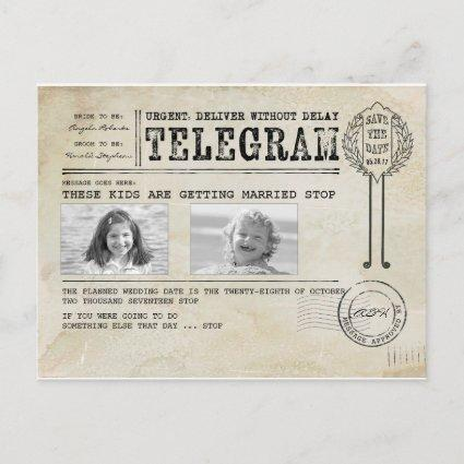 Funny Childhood Photos | Save the Date Telegram Announcement
