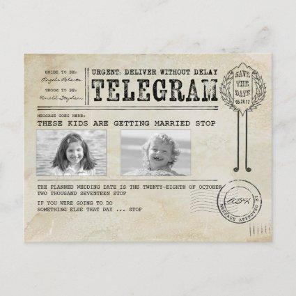 Funny Childhood Photos   Save the Date Telegram Announcement