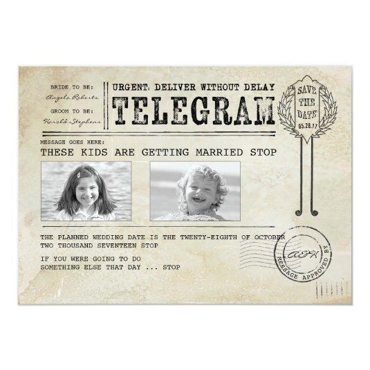 Funny Childhood Photos | Save the Date Telegram Card