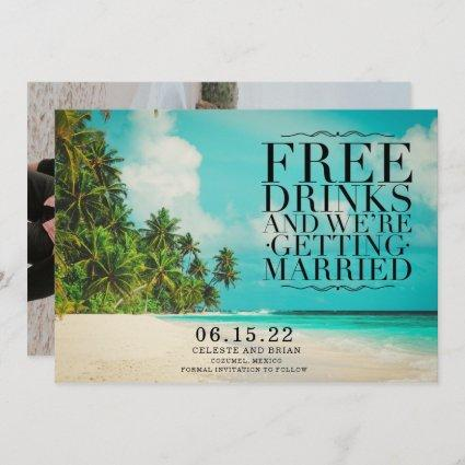 Funny Free Drinks Paradise Beach Save the Date