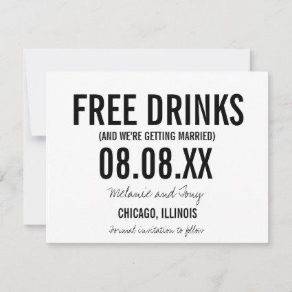Funny Free Drinks Photo Vertical Save the Dates Save The Date