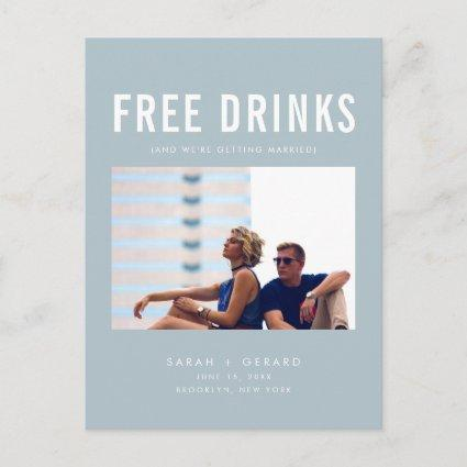 Funny Free Drinks Wedding Blue Save the Dates Announcement